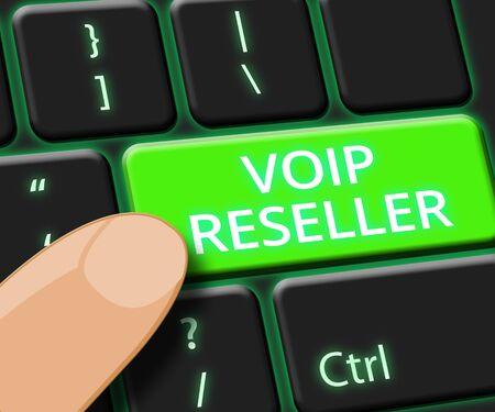 Voip Reseller Key Showing Internet Voice 3d Illustration