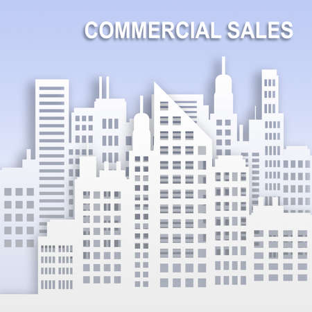 Commercial Sales Skyscrapers Represents Office Property Buildings 3d Illustration