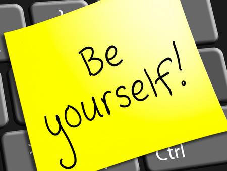 Be Yourself Note 행동 법선 3d 일러스트를 나타냅니다.