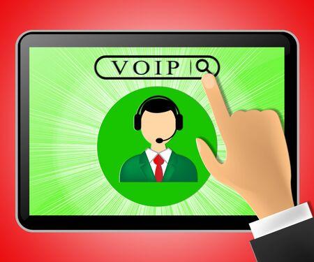 Voip Tablet Representing Internet Voice 3d Illustration