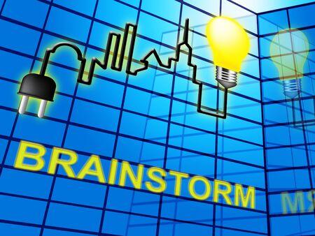 Brainstorm Lightbulb Means Dream Up And Brainstorming 3d Illustration