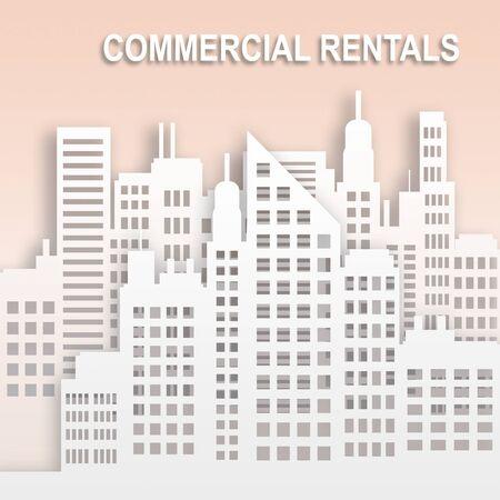 rentals: Commercial Rentals Skyscrapers Represents Office Property Buildings 3d Illustration