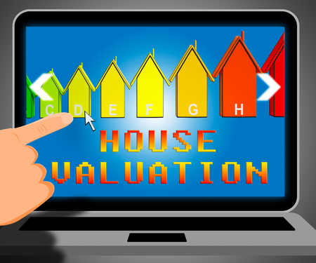 valued: House Valuation Laptop Representing Current Price 3d Illustration