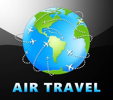 Air Travel Globe Means Plane Message 3d Illustration Фото со стока