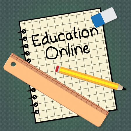 Education Online Notebook Represents Internet Learning 3d Illustration