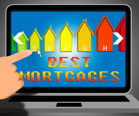 Best Mortgage Laptop Representing Real Estate 3d Illustration