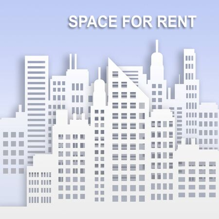 Space For Rent Skyscrapers Represents Office Property Buildings 3d Illustration