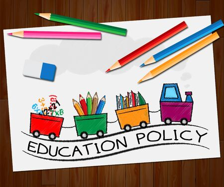 educated: Education Policy Train Showing Schooling Procedure 3d Illustration