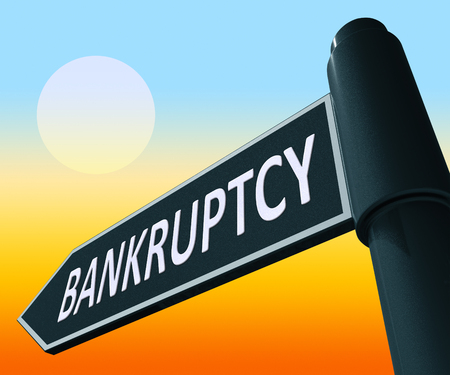 indebt: Bankruptcy Road Sign Representing Bad Debt And Arrears 3d Illustration