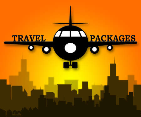 Travel Packages Plane Representing Getaway Tours 3d Illustration Stock Photo