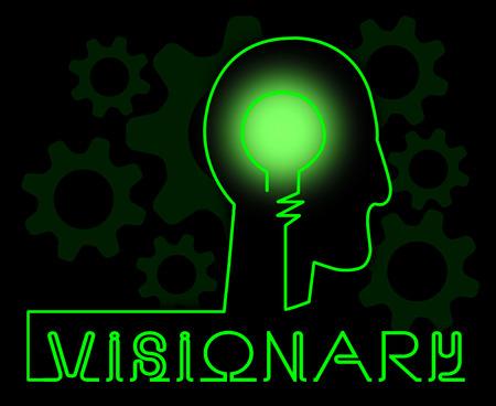Visionaire Hersenen die de Strategie en de Idees van het Insicht vertegenwoordigen Stockfoto