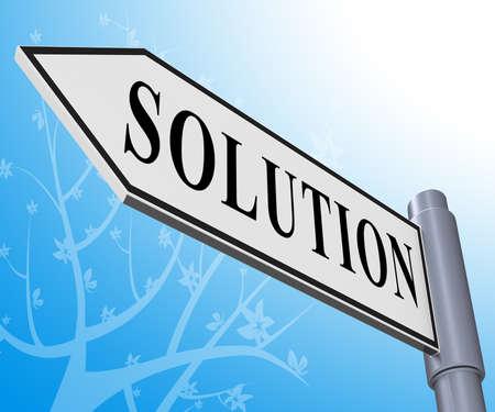 Oplossing Road Sign Betekenis oplossen van succesvolle 3d illustratie Stockfoto