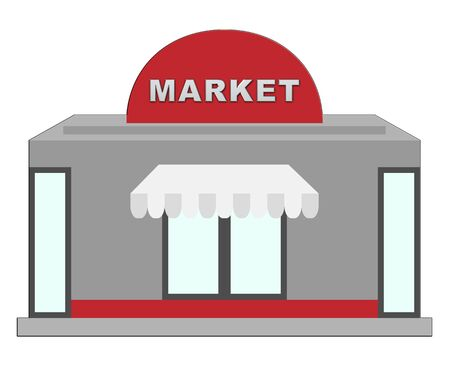 Market Sign Shops Shows Grocery Shopping 3d Illustration Stock Photo