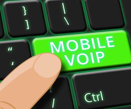 Mobile Voip Key Showing Broadband Telephony 3d Illustration Reklamní fotografie