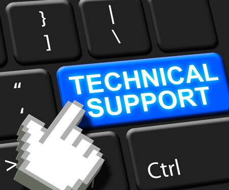helps: Technical Support Key Showing Help 3d Illustration Stock Photo