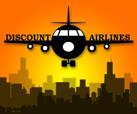 Discount Airlines Plane Means Special Offer Flights 3d Illustration