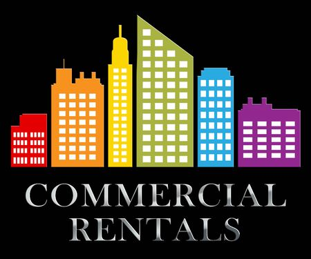 rentals: Commercial Rentals Skyscrapers Describes Real Estate Leases 3d Illustration Stock Photo