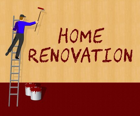 Home Renovation Indicates House Improvement 3d Illustration Stock Photo