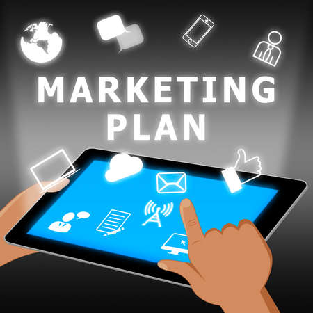 emarketing: Marketing Plan Icons Showing Emarketing 3d Illustration