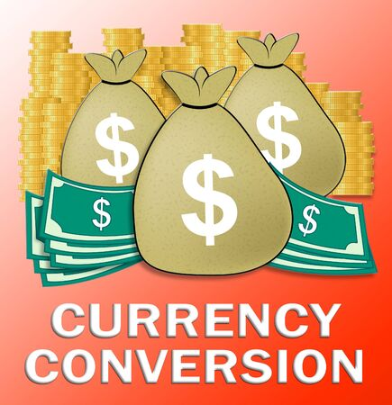 currency converter: Currency Conversion Dollars Shows Money Exchange 3d Illustration