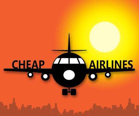 Cheap Airlines Plane Means Special Offer Flights 3d Illustration Фото со стока