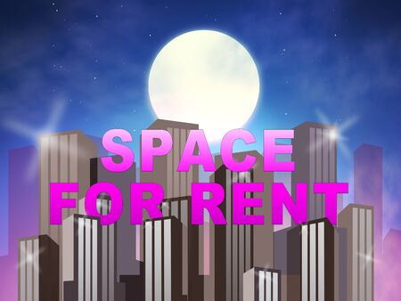 for rental: Space For Rent Skyscrapers Meaning Real Estate Leases 3d Illustration