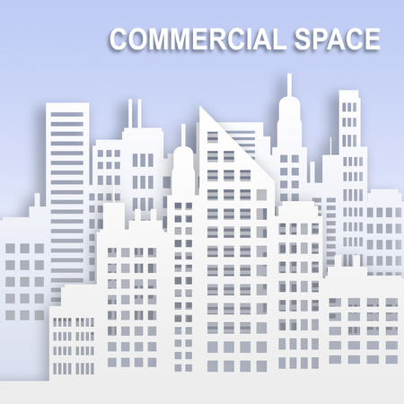 Commercial Space Skyscrapers Represents Office Property Buildings 3d Illustration
