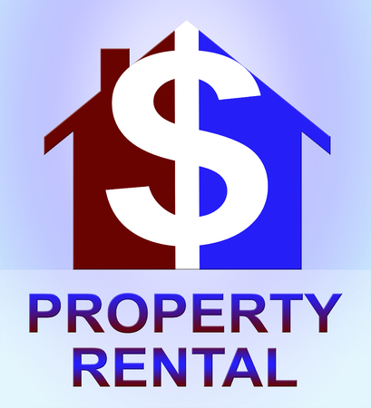 Property Rental Dollar Icon Represents House Rent 3d Illustration
