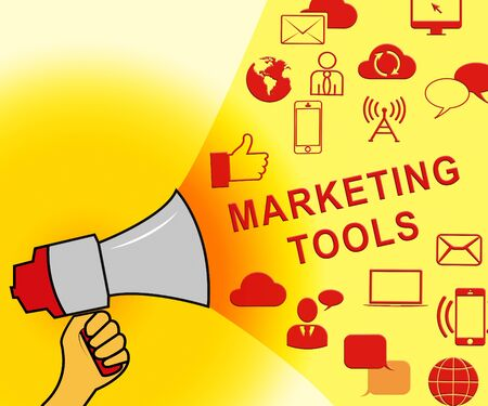 Marketing Tools Icons Representing Promotion Apps 3d Illustration
