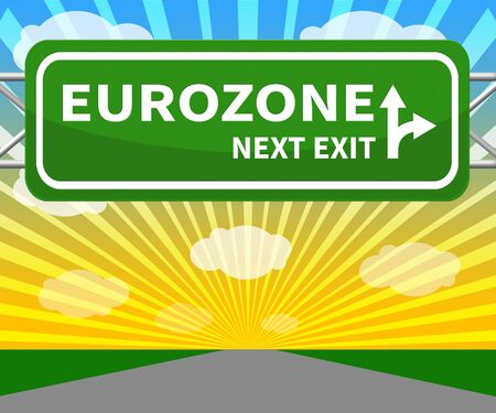 Eurozone Sign Shows Euro Area 3d Illustration