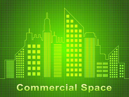 Commercial Space Skyscrapers Represents Real Estate Offices 3d Illustration Stock Photo
