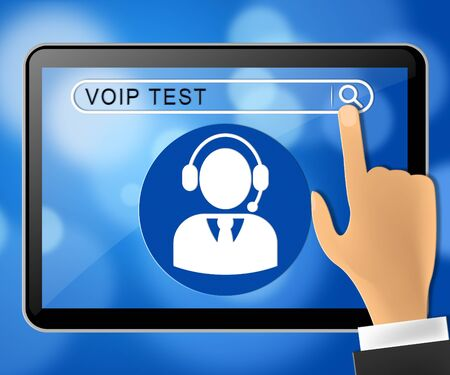 Voip Test Tablet Represents Internet Voice 3d Illustration