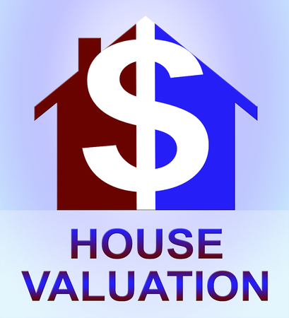 valued: House Valuation Dollar Icon Means Current Price 3d Illustration