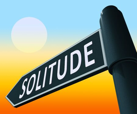 isolation: Solitude Road Sign Displaying Alone And Lost 3d Illustration