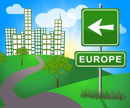Europe Sign Showing Euro Area 3d Illustration