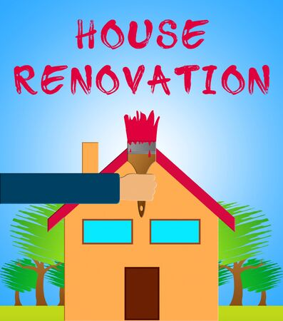 House Renovation Paintbrush Means Home Improvement 3d Illustration Stock Photo