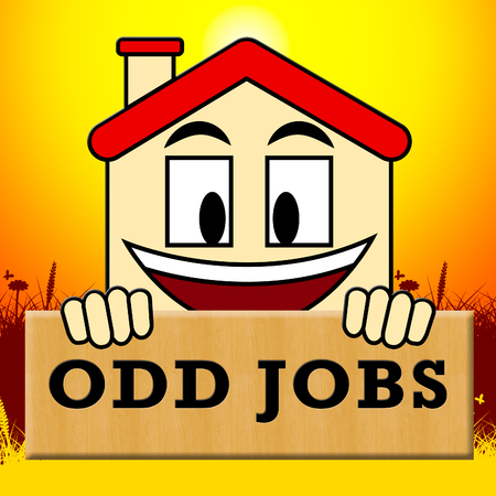 odd jobs: Odd Jobs Sign Showing House Repair 3d Illustration