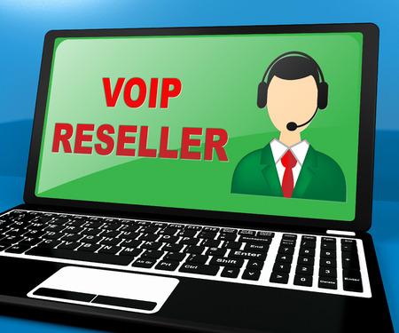 Voip Reseller Laptop Shows Internet Voice 3d Illustration Reklamní fotografie