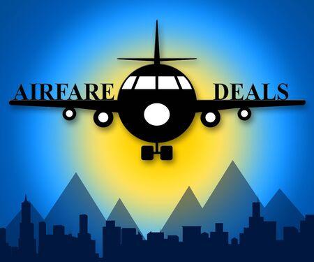 Airfare Deals Plane Means Airplane Sale 3d Illustration Фото со стока