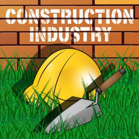 building sector: Construction Industry Builders Hat Represents Building Sector 3d Illustration