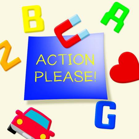 Action Please Message Fridge Magnets Showing Doing 3d Illustration Stock Photo