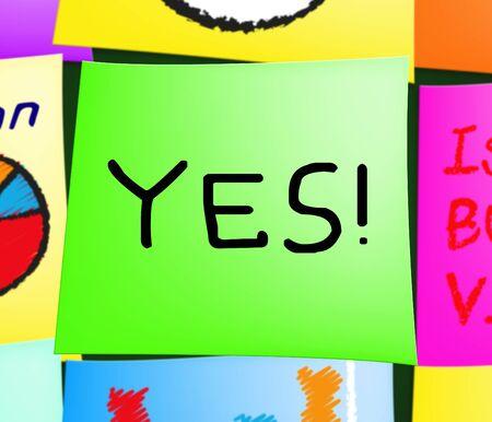 Yes Note Message Displays Optimist Mindset 3d Illustration