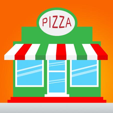 Pizza Shop Icon Means Pizzeria Restaurant 3d Illustration