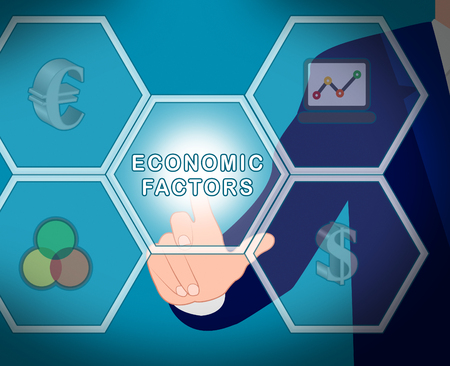 Economic Factors Icons Displays Financial Features 3d Illustration