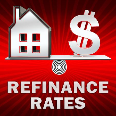 refinancing: Refinance Rates Dollar Sign Displays Equity Mortgage 3d Illustration