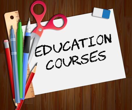 Education Courses Paper Showing Course 3d Illustration