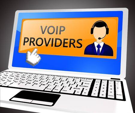 Voip Providers Laptop Showing Internet Voice 3d Illustration