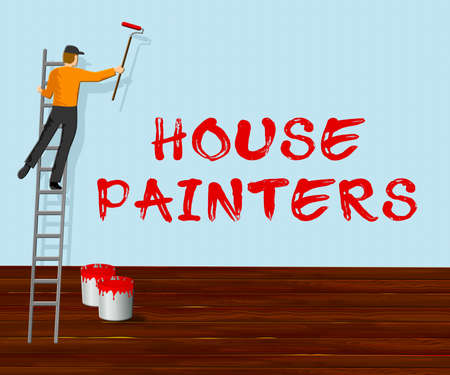House Painters Showing Home Painting 3d Illustration
