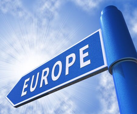 Europe Road Sign Meaning Euro Zone 3d Illustration Stock Photo