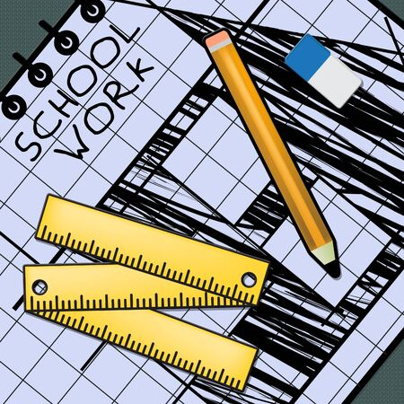 School Work Equipment Showing Lesson Assignment 3d Illustration Stock Photo